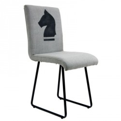 Krzesło tapicerowane na metalowych nogach, grafika konia