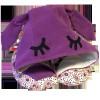 Poduszka podróżna Organic Toys fioletowa z kapturem z uszami dla kobiet i dziewczyn (travel hoodie pillow for girls, women)